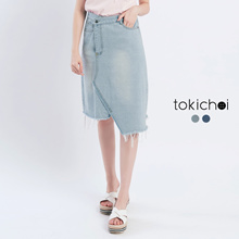 TOKICHOI - Asymmetrical Midi Denim Skirt with Raw Hem-171815-Winter