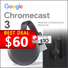 Chromecast 3.0 - HDMI Media Streaming Device Airplay Mirror