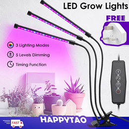 Free SG Adapter LED Plant Grow Light Plant Lamp Indoor Plant 5 Dimmable Clip Desk Lamp 360° Flexible
