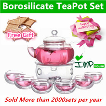 ★IMP HOUSE★Mothers Day Gift Borosilicate Glass TeaPot/Heat Resistant Glass Teapot Sets