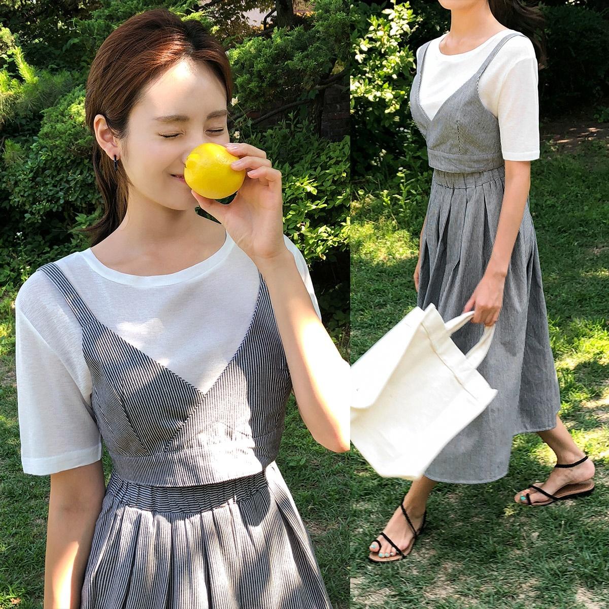 [CHERRYKOKO官方旗艦店] 細肩帶洋裝套裝(附短袖T恤)/ turna ops