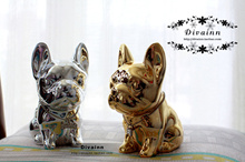 Gold silver plated ceramic French bullfighting piggy bank