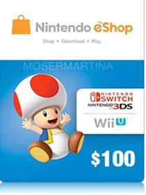 Nintendo Eshop 100 USD Credits Digital Code Only