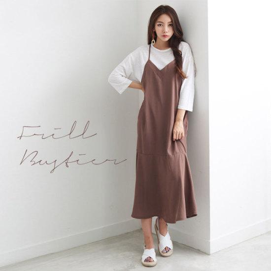 オーサムラレンフリルビュスチェワンピース231819G 塔/袖なしのワンピース/ 韓国ファッション