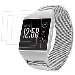 AFUNTA Stainless Steel Magnetic Bands Compatible Fitbit Ionic & 3 Packs Screen Protectors, 6.7-8....