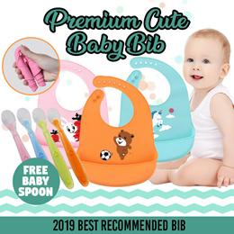 [3frogstudios]Special $7.90♥ Premium Silicone Bibs + FREE Baby spoon #Premium Cute Baby Bib #No Mess