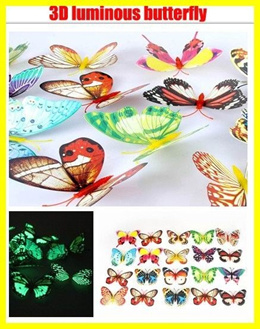 10pcs 3D artificial butterfly luminous fridge magnet home christmas wedding decoration kid toy