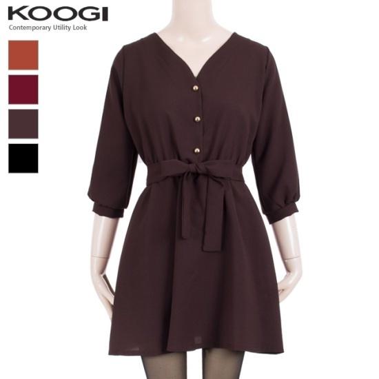 釘宮ゴールドボタンバンディングワンピースKK3OP366A プリントのワンピース/ 韓国ファッション