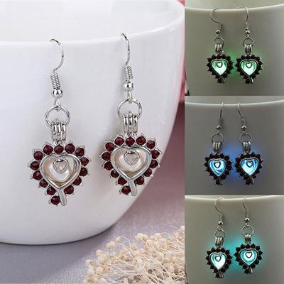 6d184f6bc 925 Sterling Silver Angel Wing Stylist Crystal Earrings Luminous Drop  Dangle Ear Stud for Women Lumi