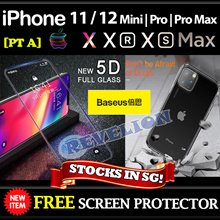 iPhone SE 2020 11 12 Pro Max X XR XS MAX Case Tempered Glass ★SG★ FREE Screen Protector BASEUS Apple