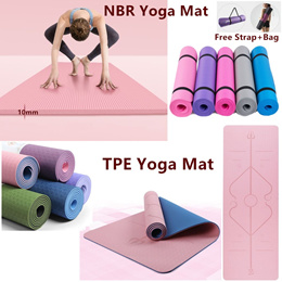 Yoga Mat Fitness Mat Sports 183 x 61 x 0.6CM Fitness Mat Sports TPE Non-slip Environmental Protection Posture Line Yoga Mat with strap mesh bag Sports Pull Rope