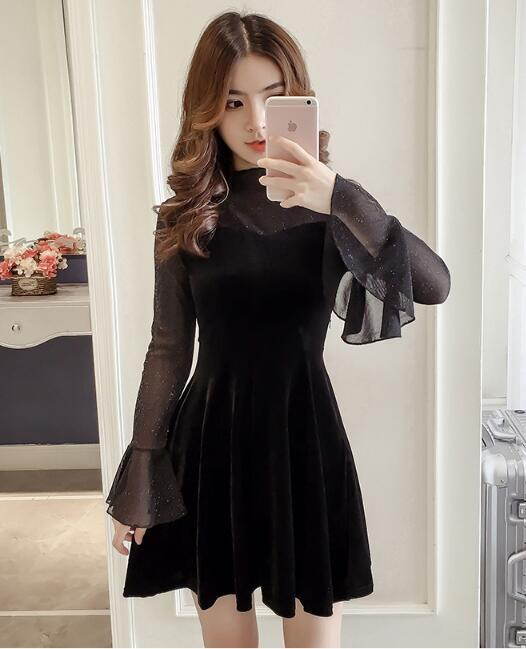 [55555SHOP]韓国ファッション♥長袖セレブなOL気質の職業の服装,レーススカート,レディースファッション♥♥