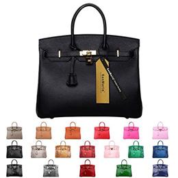 SanMario Designer Handbag Top Handle Padlock Womens Leather Bag with Golden Hardware Black 30cm/12&q