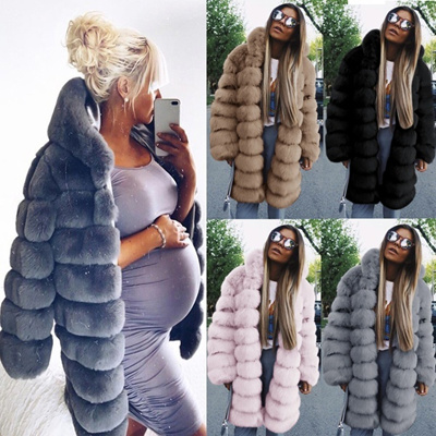 ad692c08f Fashion Women Winter Coats Faux Fur Coat Elegant Thick Warm Outerwear Fake  Fur Jacket Hooded Coat