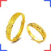 Premium 24K Gold Plated Fashion Bangle/ Bracelet and Ring Women Lady