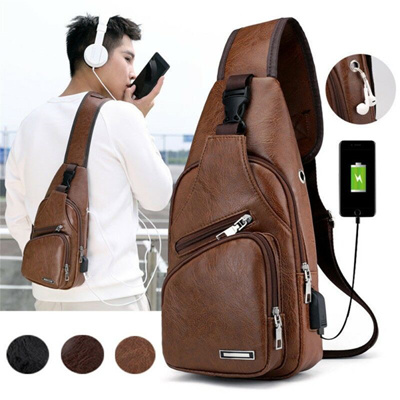 Men/'s Leather Chest Sling Backpack Shoulder Cross Body Messenger Bag Satchel New