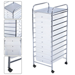 Giantex 10 Drawer Rolling Storage Cart Clear