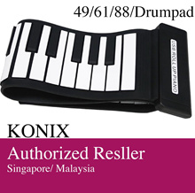KONIX midi roll up outdoor convenient silicon piano drum pad for mac or windows 49 61 88 key board