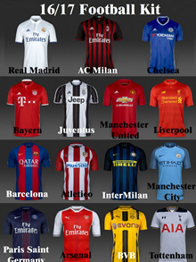 16/17 Short Sleeve Real Madrid/AC Milan/Inter Milan/Man Utd/Man City/Bayern /Atletico/Arsenal/Barcelona/Liverpool/Tottenham/BVB/ Chelsea/ Juventus/Paris Saint Germany Football Kit Soccer Jersey Shirt