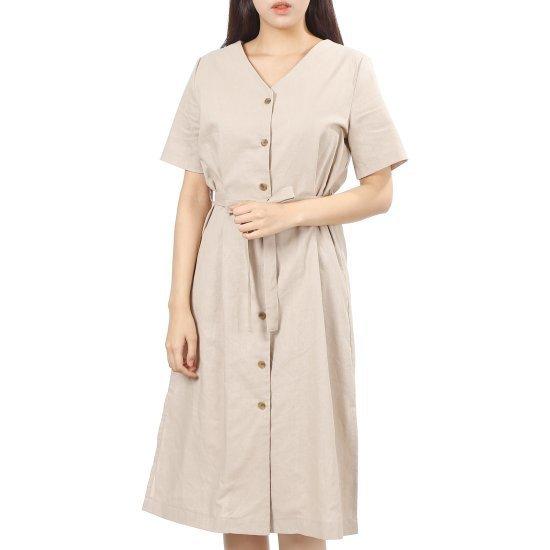 プラストーリープラスチックアイルランドブイネクシャツ型ロングワンピースベルト 面ワンピース/ 韓国ファッション