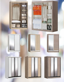 MOGAN SERIES (SOLID SIDE PANEL / 4FT / 5FT WARDROBE / CHOICE OF COLOR AND DOOR DESIGN)