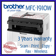 Brother Monochrome Laser Compact Multi-Function Centre with Fax ADF and Wireless MFC-1910W