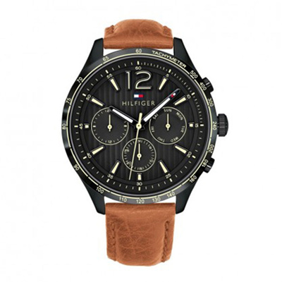 b1054075e Tommy Hilfiger Watch Gavin Brown Stainless-Steel Case Leather Strap Mens NWT  + Warranty 1791470