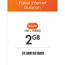 Inject / TOPUP / ISI Paket DATA Indosat 1GB + BONUS 1GB(4G) 24Jam 60Hari