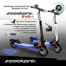 Scootpro EVO-1 Electric Scooter ★ 100% Authentic ★ 700watts Brushless Hub Motor ★