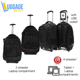 ★4-wheeler Bag with Laptop pouch★2-in-1 Dual Usage Laptop Bag / Trolley Backpack / Tablet