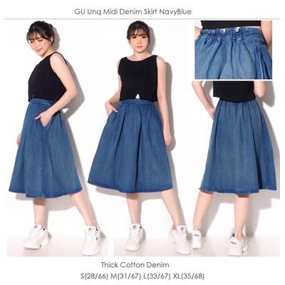 GU Unq Midi Denim Skirt NavyBlue