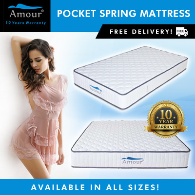 Amour Brand Pocket Spring Mattress Single size/Super Single size/Queen size/King size Free delivery Deals for only S$399 instead of S$0