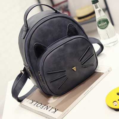 2cf677d76ff Teenage Girls College Style Casual Backpack Sac Mochilas Kawaii Cat Ear  Backpack Black Preppy Style