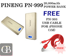 PINENG PN-999 20000mAh POWER BANK FREE PN-303 FAST CHARGING USB CABLE 2Years Warranty With Pouch Bag