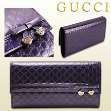 Gucci GUCCI Long Purse 258405 AZA 2 G 5113 Foldable Charm Bow Heart Shape CANDY SHINE MICRO GG Shiny Micro Gucci Shima Leather Violet