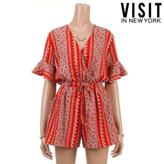 ・ビジット・インニューヨークオリエンタルVラップつなぎVTFOP27 面ワンピース/ 韓国ファッション