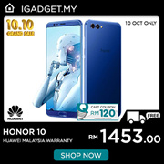 [RM1453 After RM120 Coupon] Huawei Honor 10 4GB RAM/ 128GB ROM (Huawei Malaysia Warranty)