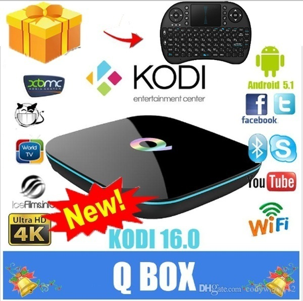 [Free Wireless Keyboard + Mouse]NEW KODI Q Box Android Tv Box for Q-BOX  IPTV Android 5 1 S905 Quad C