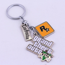 HANCHANG Jewelry Game PS4 GTA 5 Grand Theft Auto 5 Keychain For Men Fans Letter Grand Theft Autob