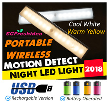 ♥SGFreshIdea♥Motion Detect Night LED Light♥Amazon Top Seller♥2018♥Battery Operated♥Rechargable♥