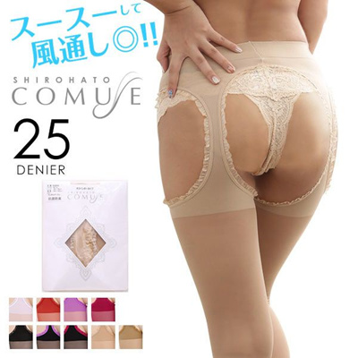 80bfbbd9ab Qoo10 - Comuse 25-Denier Crotchless Lace Stocking Suspenders (Made ...