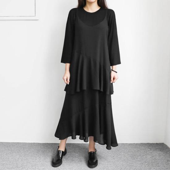 英と雨オンバルシフォンナシワンピース 綿ワンピース/ 韓国ファッション