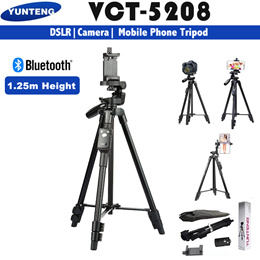 Yunteng VCT-5208 Selfie Tripod with Bluetooth Remote for Smartphones and DSLR Camera Live Streaming