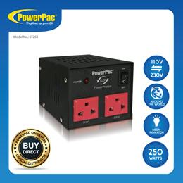 PowerPac Converter Transformer 250W Heavy Duty Step Up/Down Voltage 110V/220Voltage Regulator(ST250)