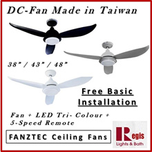 [REGIS] - FANZTEC GLIDE 38/43/48 inch DC MOTOR CEILING FAN + REMOTE +LED Tri-colour Free Install