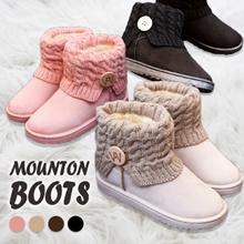 Switch knit short Mouton boots knit short Mouton boots fluffy d s short Mouton boots