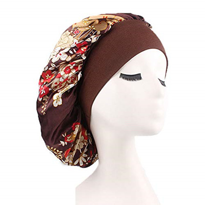 [sb]Silk Satin Sleep Cap Bonnet Wide Band Night Sleep Hats for Womens,Hair  Loss,Natural Hair (One Si