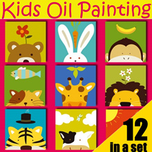12 in SET Kids Oil Painting★DIY Paint by Numbers★Education and Art ★Cute Animal Designs★ Canvas★Gift