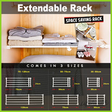 ★ Extendable Rack ★ Space Saving Extra Storage! Multipurpose Wardrobe Cupboard ShoeRack Easy Install