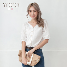 YOCO - V-Neck Laced Cut-out Top-190917